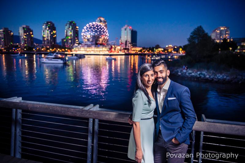 Science world False creek engagement, romantic evening pictures